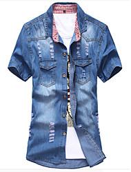 Men's Short Sleeve Shirt,Cotton / Acrylic Casual / Sport Solid 916088
