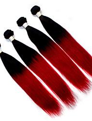enredo libre de extensiones de cabello humano brasileño ombre 1b del pelo / 3pcs la armadura del pelo humano del pelo recto rojo / lot 12