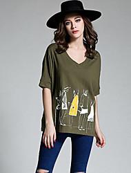 Women's Print Black / Green T-shirt,V Neck ½ Length Sleeve