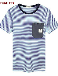 Trenduality® Hommes Col Arrondi Manche Courtes T-shirt Bleu-43100
