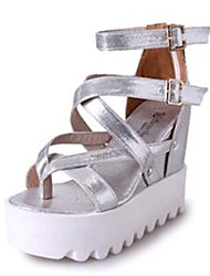 Women's Shoes Leatherette Wedge Heel Wedges / Heels Sandals Outdoor / Casual Black / Silver / Gold