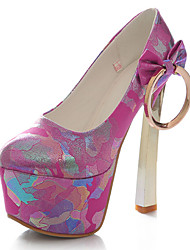 Calçados Femininos-Saltos-Saltos / Plataforma / Arrendondado-Salto Grosso-Azul / Rosa / Vermelho / Branco-PU-Social / Casual / Festas &