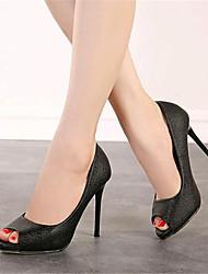 Women's Shoes Leatherette Stiletto Heel Heels / Peep Toe Heels Party & Evening Black / White
