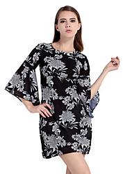 Haoduoyi Femme Col Arrondi Manches 3/4 Mini Robes-15151C326
