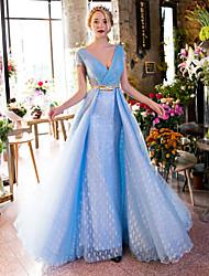 Formal Evening Dress-Sky Blue A-line V-neck Sweep/Brush Train Lace / Tulle