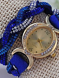 Women's Fashionable Leisure Winding Diamond Retro Cross Weave Watch Leather Band Cool Watches Unique Watches