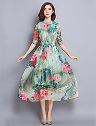 Women's Street chic Floral Swing Dress,Stand Midi Silk