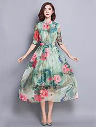 Mulheres Vestido Swing Moda de Rua Floral Médio Colarinho Chinês Seda