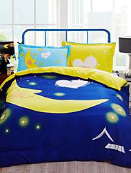 Moon print duvet cover Sets 100% Cotton Bedding Set Queen/Double/Full Size