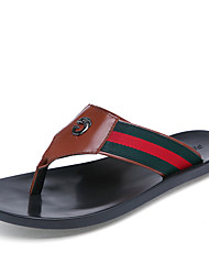 Men's Sandals Outdoor Casual Leather Fabric Flip-Flops Black / Red / White