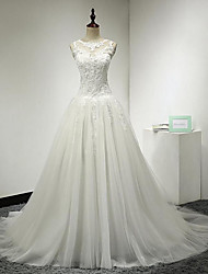 A-line Wedding Dress Court Train Jewel Lace / Tulle with Appliques / Button