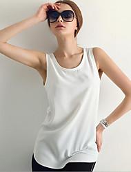 Ronde hals-Katoen-Racerback-Vrouwen-T-shirt-Mouwloos