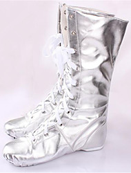 Non Customizable Women's Dance Shoes Leather Leather Jazz Boots Low Heel Practice Silver