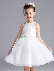 A-line Short / Mini Flower Girl Dress - Cotton Organza Satin Halter with Bow(s) Flower(s) Sash / Ribbon