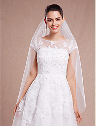Wedding Veil One-tier Fingertip Veils Headpieces with Veil Cut Edge 47.24 in (120cm) Tulle Ivory