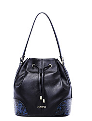 NAWO Women Cowhide Shoulder Bag Black-N153051