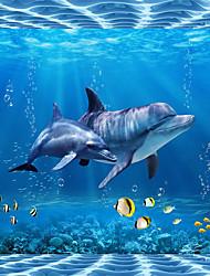 "(9'8 ""x 8'2""ft)Photo Wallpaper Silk Cloth Marine Life Dolphin Backdrop 3d Large Wall Mural Wallpaper"