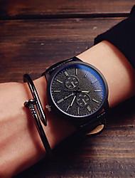 Men's Fashion Watch Quartz Leather Band Black