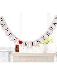 HAPPY BIRTHDAY with Red Heart Banner Table Hanging Garlands Party Photo Props