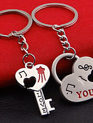 A Pair Fashion Love Heart Key Ring Keyfob Couples Romantic Keychain Lover Gift