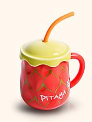 Creative Cute Pitaya Style Drinking Straw Ceramic Mug Cup