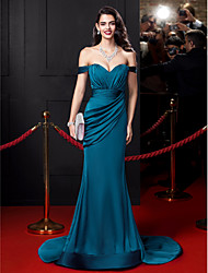 Mermaid / Trumpet Off-the-shoulder Court Train Satin Chiffon Evening Dress with Draping by TS Couture®