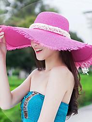 Women Straw Stitching Ribbon Floppy Hat,Cute / Casual Spring / Summer / Fall