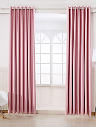 Two Panels Modern Solid Pink Bedroom Rayon Blackout Curtains Drapes