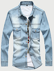 Men's Long Sleeve Shirt,Cotton / Acrylic Casual / Sport Solid 916087