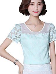Summer Casual Women's Fashion Lace Splicing Round Neck Short Sleeve Chiffon Shirt Slim Beading Blouse Tops