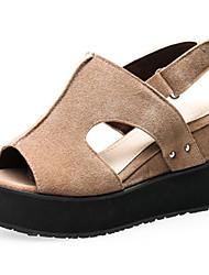 Women's Shoes Fleece Wedge Heel Wedges Sandals Outdoor / Dress / Casual Black / Red / Gray / Almond