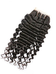 08inch-20inch Natural Black Full Lace / Hand Tied Deep Wave Human Hair Closure Medium Brown Swiss Lace 20g-60g gram Cap Size