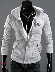 Men's Plus Size Patchwork Black/Gray Hoody,Casual Slimming Hooded Long Sleeve Zipper