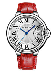 GUANQIN® High-end Fashion Japanese Quartz Luxury Silver Watch Leather Band Waterproof 37mm Watch for Women with Calendar Cool Watches With Watch Box
