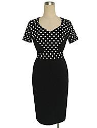 Robe Aux femmes Moulante Vintage / Simple / Street Chic,Points Polka Col en V Mi-long Coton / Polyester