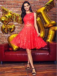 TS couture® коктейль / компания платье партии плюс размер / Petite-линии Бато длиной до колена шнурок с створка / лентой