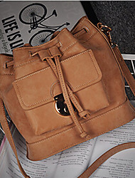 Women PU Barrel Shoulder Bag-Yellow / Gray