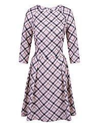 Women's Vintage / Street chic Plaid Fashion Elegance Sheath Swing Dress,Round Neck Above Knee