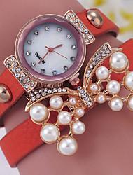Women's Fashionable Leisure  Butterfly Pearl Bracelet Watch Leather Band
