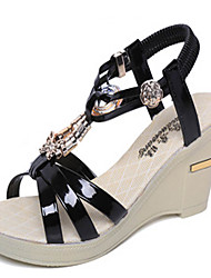 Women's Shoes PU Wedge Heel Wedges Sandals Outdoor / Casual Black / Silver / Gold