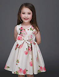 Girl's Beige Dress Cotton Summer