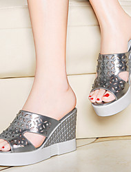 Women's Shoes Leatherette Wedge Heel Wedges Sandals Office & Career / Dress / Casual White / Silver