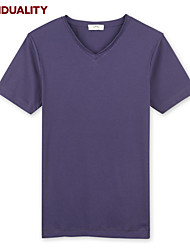 Trenduality® Hombre Escote Redondo Manga Corta Camiseta Negro / Blanco / Gris / Morado / Marrón-ZZ003