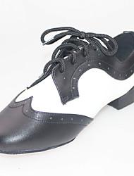 Customizable Men's Dance Shoes Latin Leather Flat Heel Black