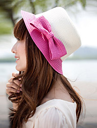 Women Straw Bow Decorative Border Fedora Hat,Cute / Party / Casual Spring / Summer / Fall