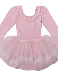 Toddler Girl's Pink Long Sleeve Ballet Tutu Dress High-Grade Dancing Performance Costume with Ruffle/ Lace Neck & Skirt