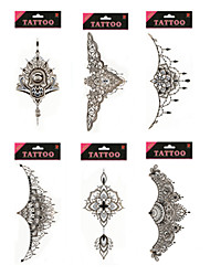 1/Pcs Waterproof Under Breast Tattoo High Quality Temporary Tattoo Metallic Sternum Tattoo Six Design Choosing