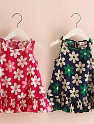 Menina de Vestido Verão Poliéster Azul / Vermelho