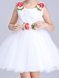 Girl's Cotton Summer Flower Belt And Shoulder Flower Lace Dress