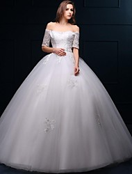Ball Gown Wedding Dress Floor-length Off-the-shoulder Lace / Tulle with Appliques / Beading / Lace